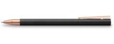 Faber Castell Neo Slim Penna Roller in metallo laccato nero Finiture Oro Rosa