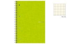 Fabriano EcoQua - Quaderno Spiralato - 4 fori - Quadretto 10 mm - A4 - Copertina Lime