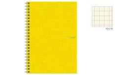 Fabriano EcoQua - Quaderno Spiralato - 4 fori - Quadretto 10 mm - A4 - Copertina Limone