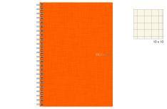 Fabriano EcoQua - Quaderno Spiralato - 4 fori - Quadretto 10 mm - A4 - Copertina Arancio