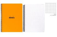 Rhodia Notebook con Spirale Laterale - Quadretto - Black Orange White