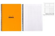 Rhodia Notebook con Spirale Laterale - Quadretto con margine - Black Orange White A4+