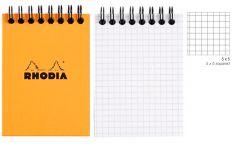Rhodia Notepad con Spirale Alta - Quadretto - Black Orange